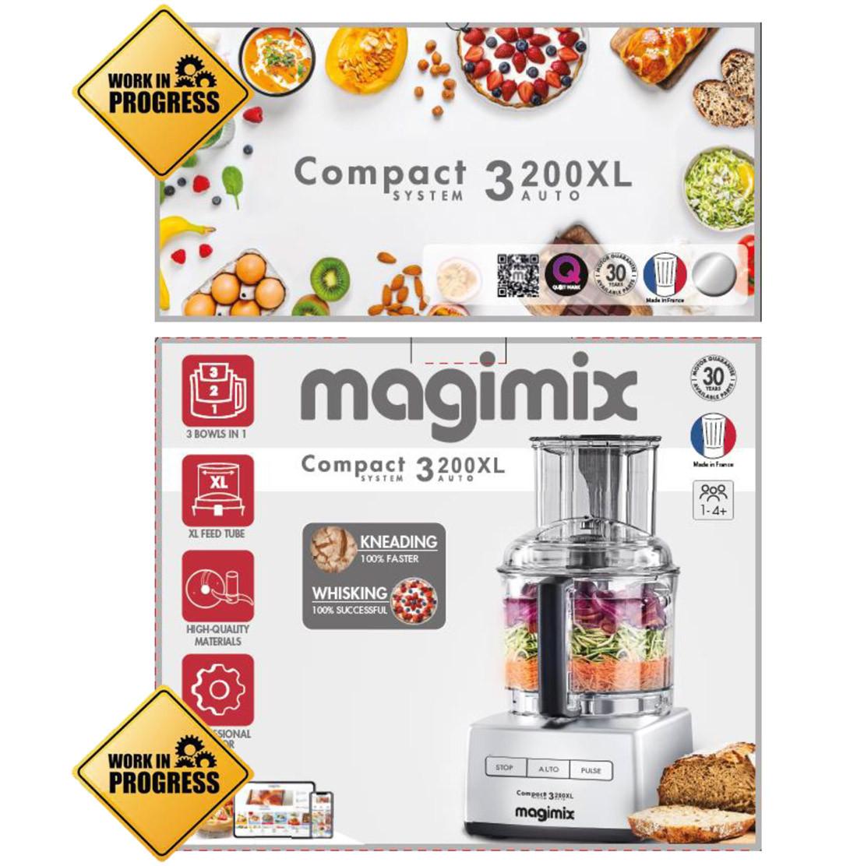 Magimix CS 3200XL chrom matt mit Würfeleinsatz + Zitruspresse