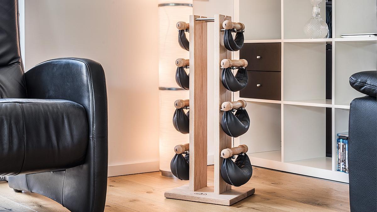 NOHrD Swing Turm Esche - Hanteln aus Vollholz und Leder