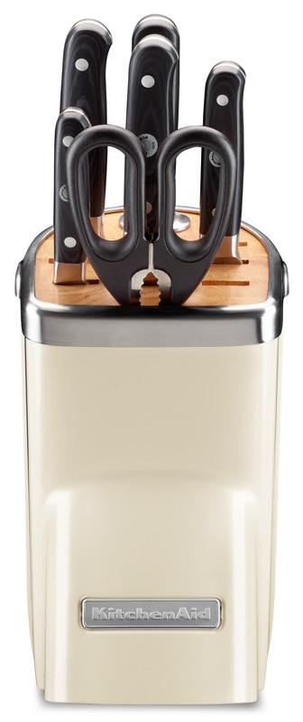 KitchenAid Messerblock 7-teiliges Set creme Almond Cream