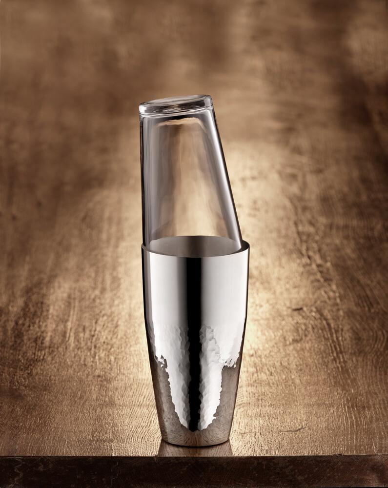 Robbe & Berking Martelé Cocktailshaker 90g versilbert mit Glas, 06301507, 4044395240982