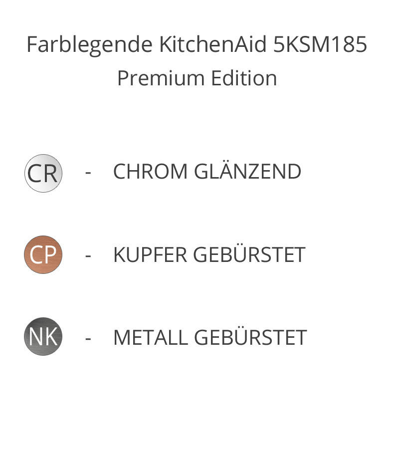 Farbebn Premium KitchenAid 5KSM185PS chrom, kupfer, gebürst. Metall