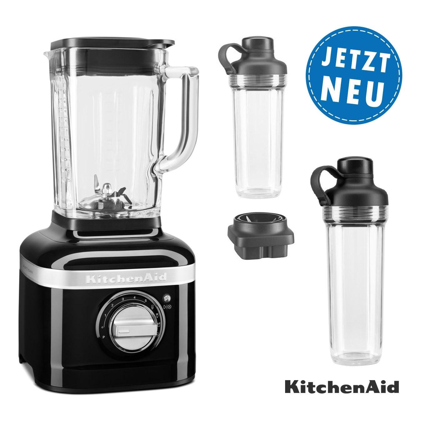 KitchenAid ARTISAN K400 Standmixer 5KSB4026 onyxschwarz mit 2xTo-Go-Behälter und Klingen