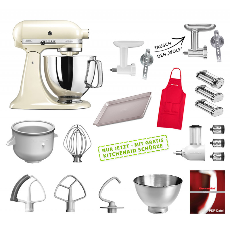 KitchenAid Küchenmaschine 175PS Mega-Paket creme/mandel