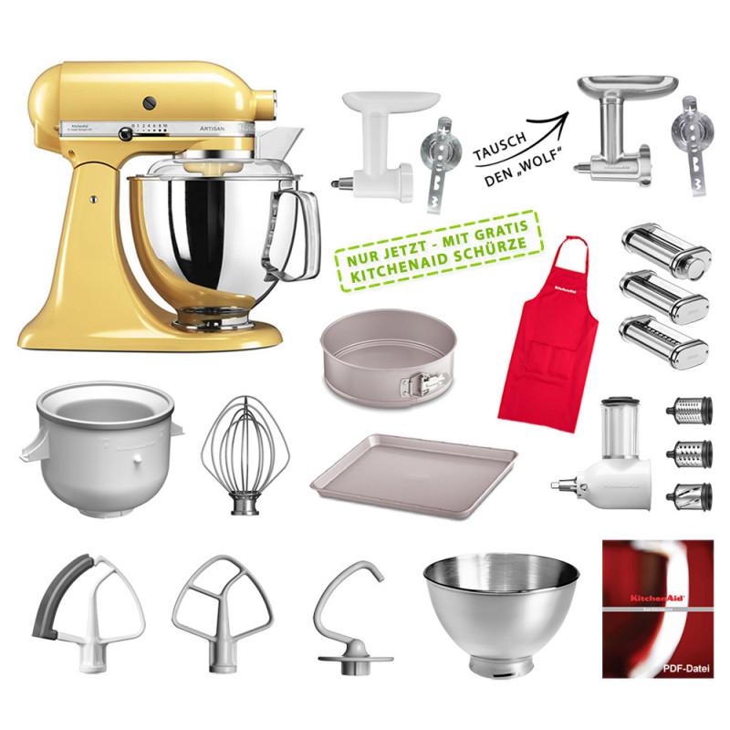 KitchenAid Artisan Küchenmaschine Mega-Paket pastellgelb