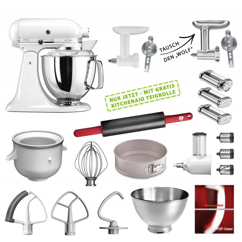 KitchenAid Küchenmaschine 175PS Mega-Paket weiß