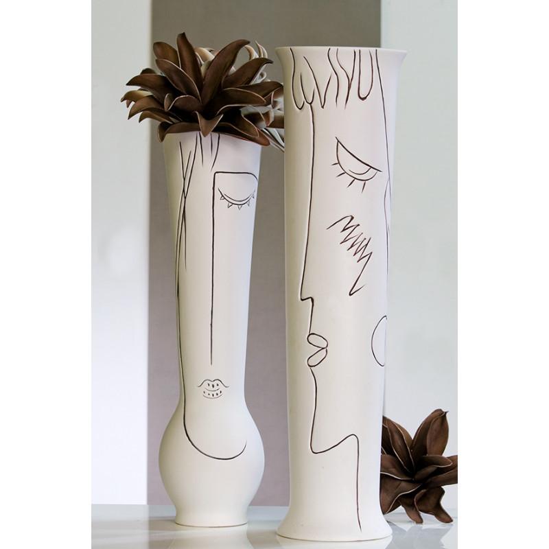 Vase Art Keramik, creme-weiß, H. 70cm Junge