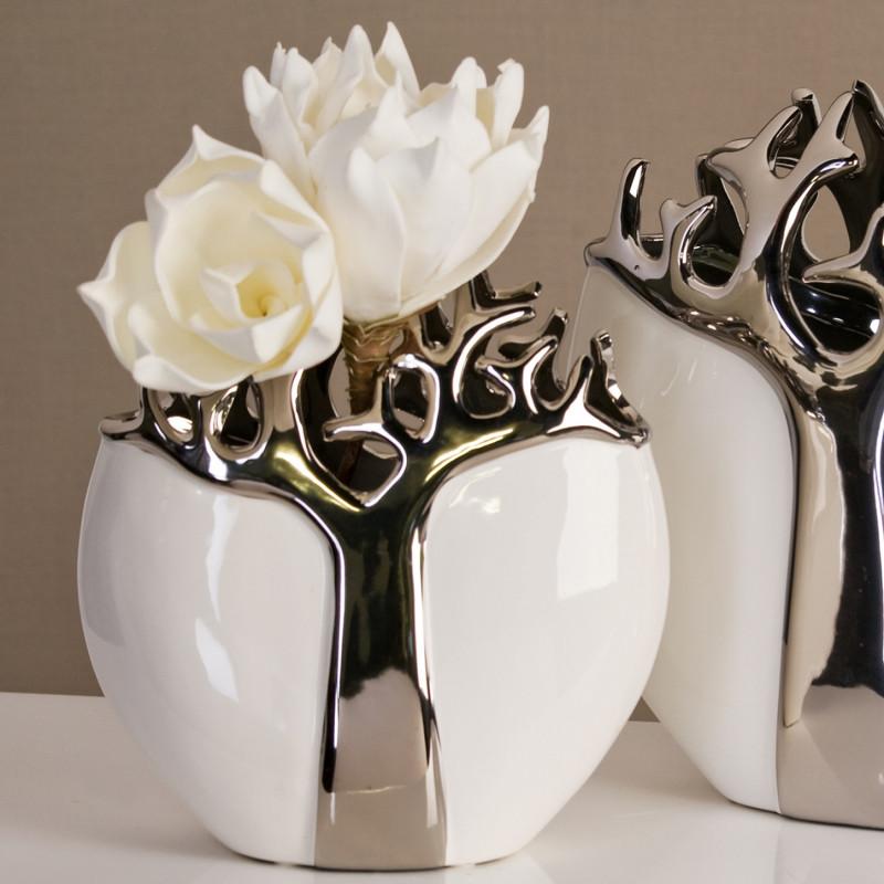 Casablanca vase tree aus keramik weiss silber 27 cm - Casablanca design bilder ...