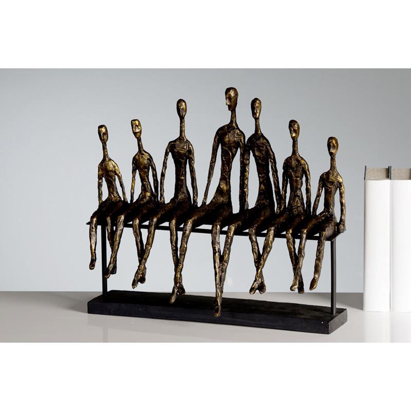 Casablanca Skulptur Community Menschen Bank Bronzeoptik