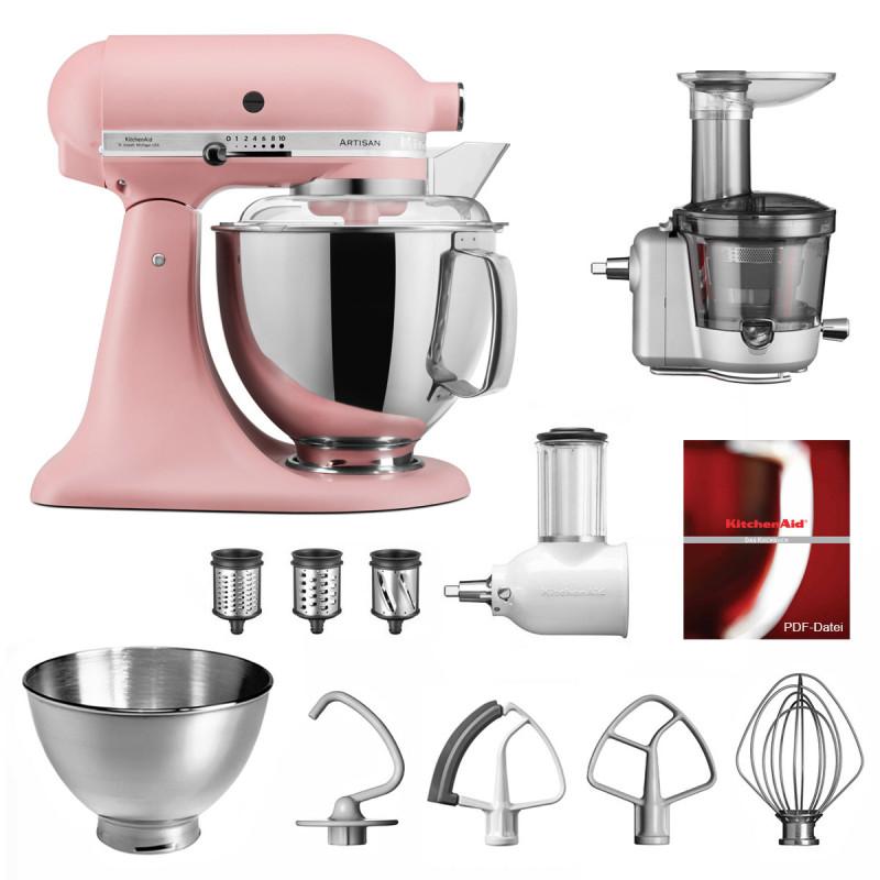 KitchenAid Küchenmaschine Artisan 175PS Entsafter Vital-Set altrosa