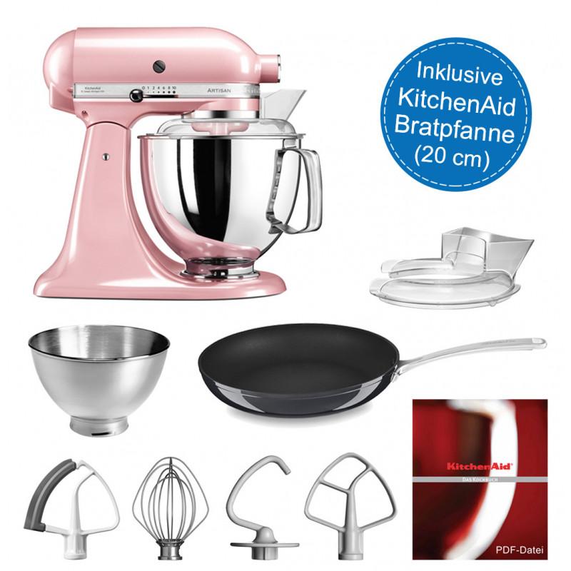 KitchenAid Artisan Küchenmaschine 175PS seidenpink/rosa 4,8 Liter mit Bratpfanne