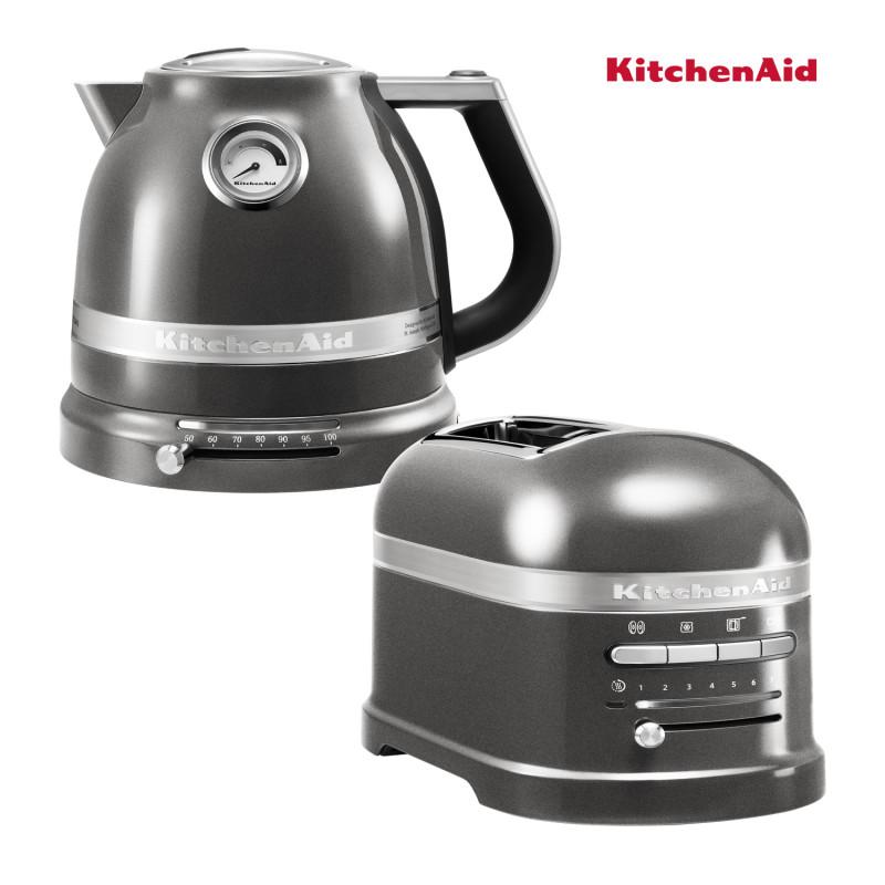 KitchenAid Effect Wasserkocher + Toaster Medallion Silber
