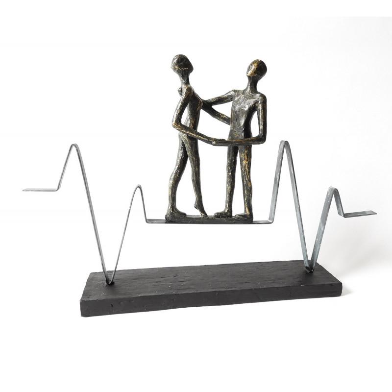 """Casablanca Design Skulptur """"Heartbeat"""" auf schwarzer Base"""