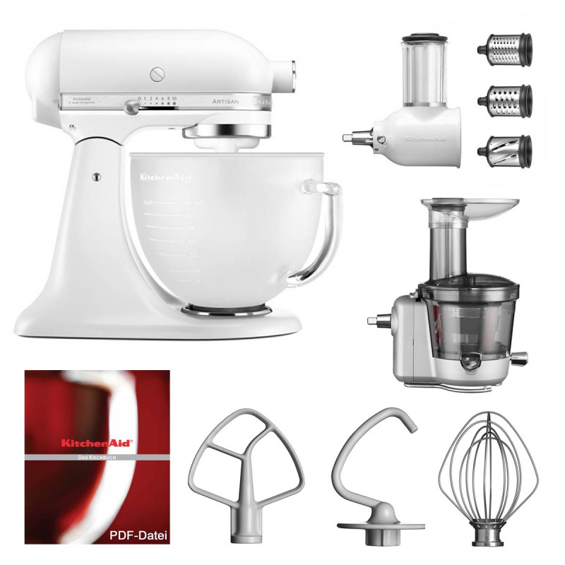 KitchenAid Küchenmaschine 5KSM156EFP Entsafter Vital-Set frosted pearl