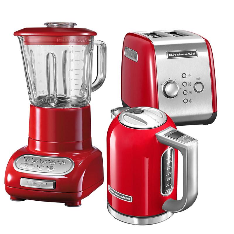 KitchenAid Set Wasserkocher + Toaster + Standmixer Empire Rot