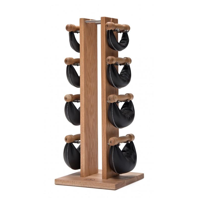 NOHrD Swing Turm Eiche - Hanteln aus Vollholz und Leder