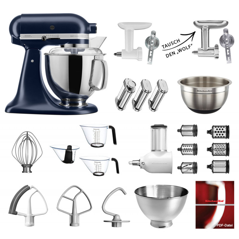 KitchenAid Küchenmaschine 175PS Mega-Paket Tintenblau
