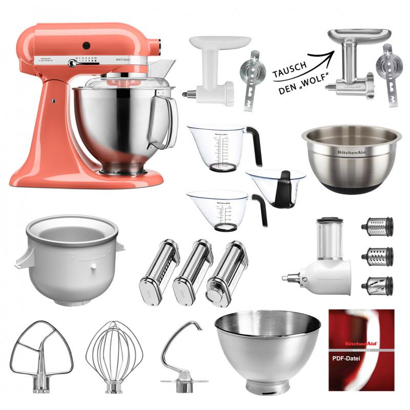 Küchenmaschine Mega-Paket KitchenAid 5KSM185PSE Coralle