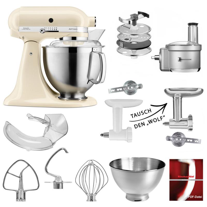 KitchenAid Küchenmaschine 5KSM185PS Foodprocessor Set creme