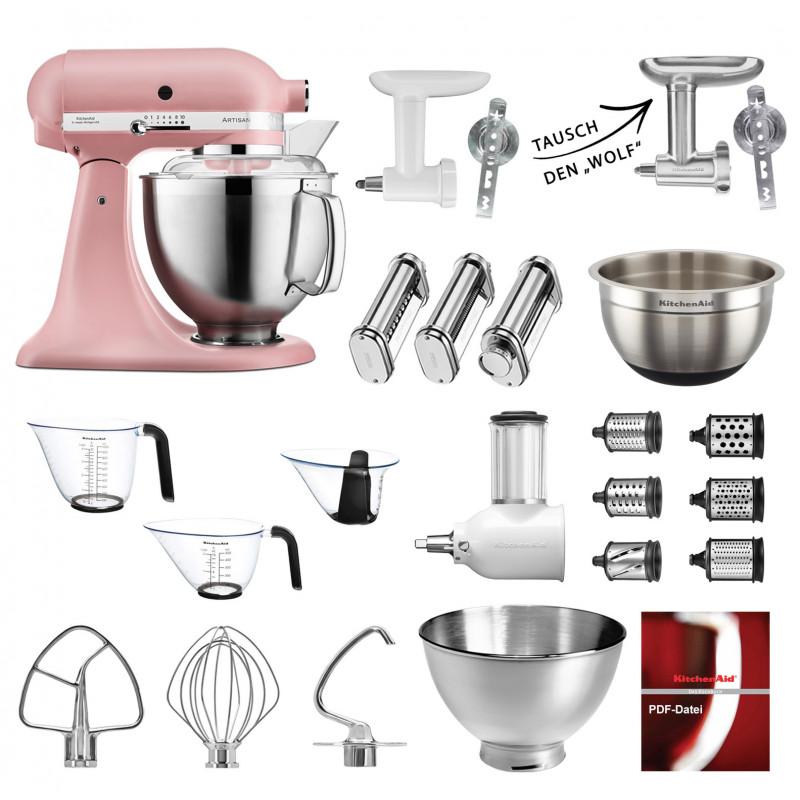 KitchenAid Küchenmaschine 185PS Mega-Paket rose