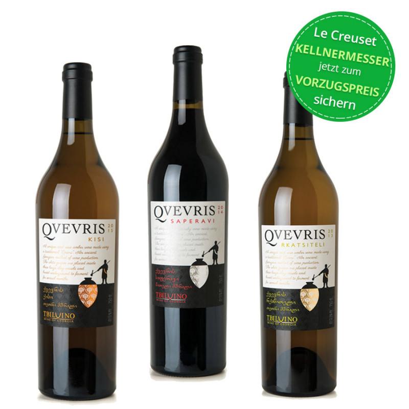 Qvevris 3er Wein Set Tbilvino aus Georgien 0,75l