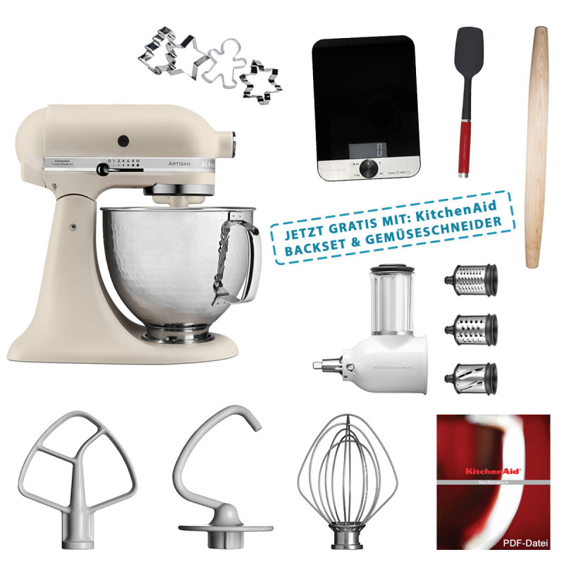 KitchenAid Artisan Küchenm. Linon 5KSM156HMEFL & Backset und 5KSMVSA