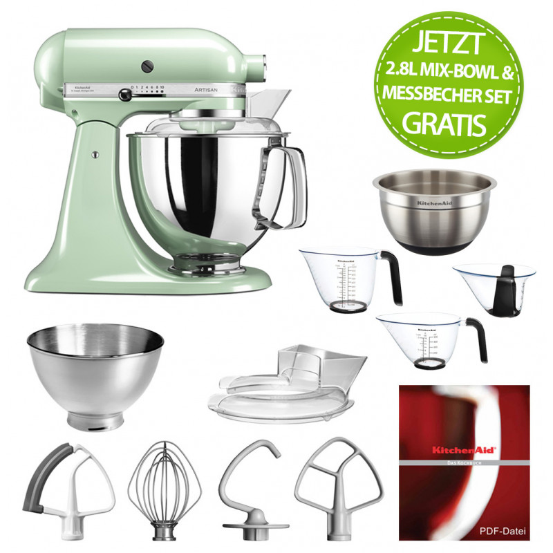 KitchenAid Artisan Küchenmaschine 4,8l pistazie + MixBowl & Messbecher-Set