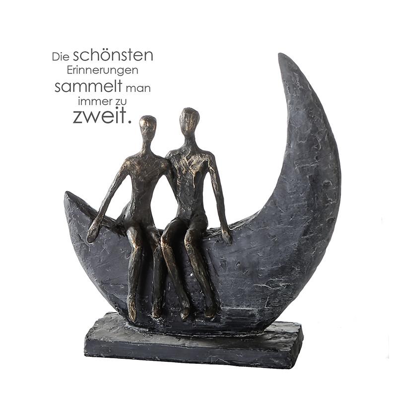 Casablanca Skulptur Moon Polystone, bronzefarben