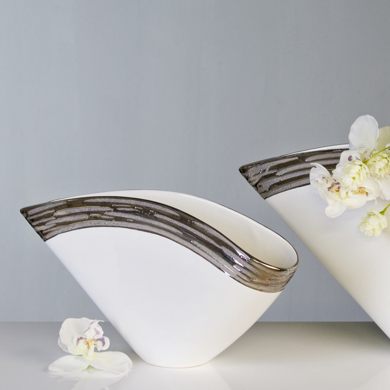 Casablanca Vase Penelope Keramik Platinrand 40 x 20