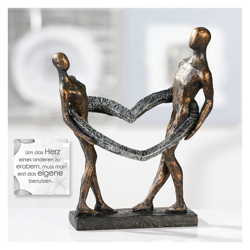 """Casablanca Skulptur """"Connected"""" - Mann und Frau in einem Herz"""