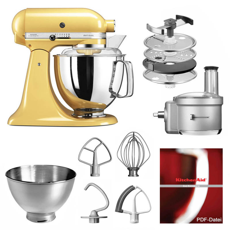 KitchenAid Küchenmaschine 175PS Foodprocessor Set pastellgelb