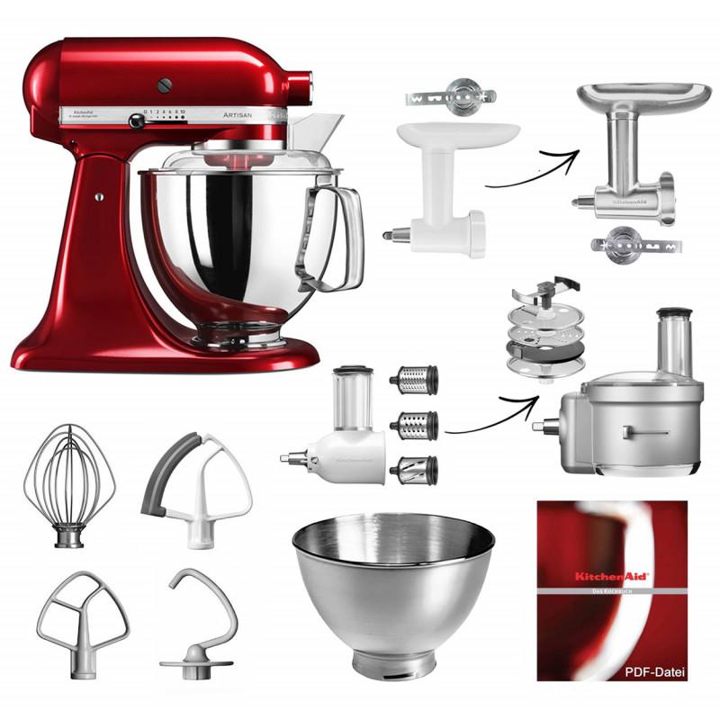 KitchenAid Artisan Küchenmaschine 5KSM175PS Fleischwolf Gemüse Set