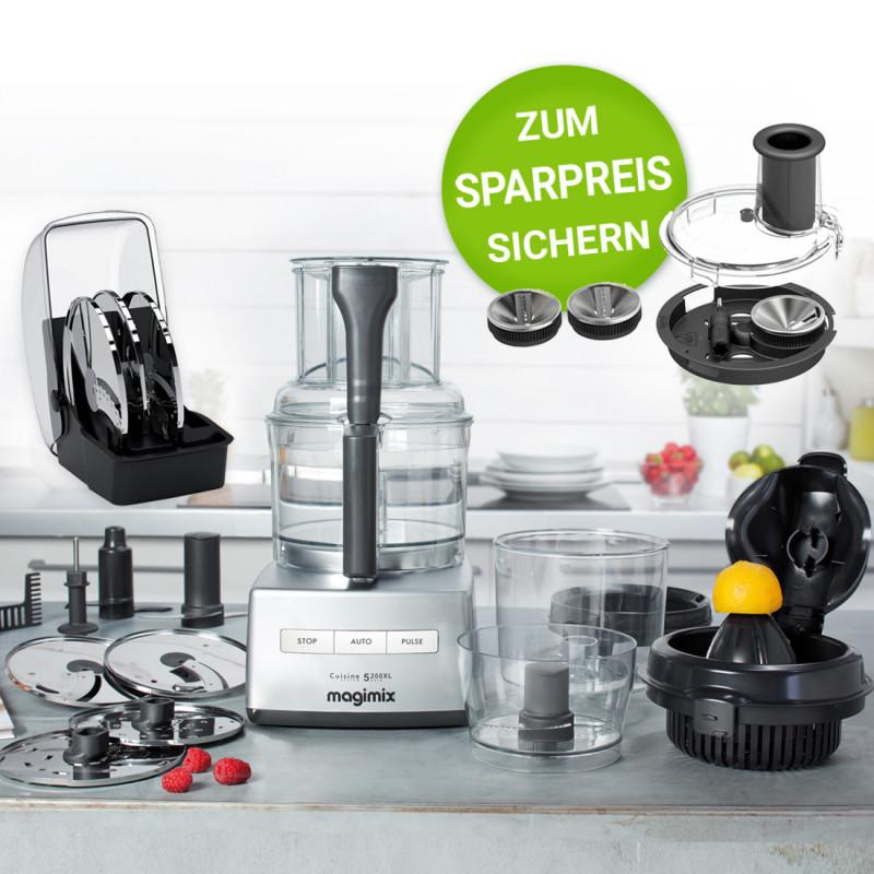 Magimix CS 5200XL chrom matt inkl. Kreative Küchen-Set & Spiral-Expert