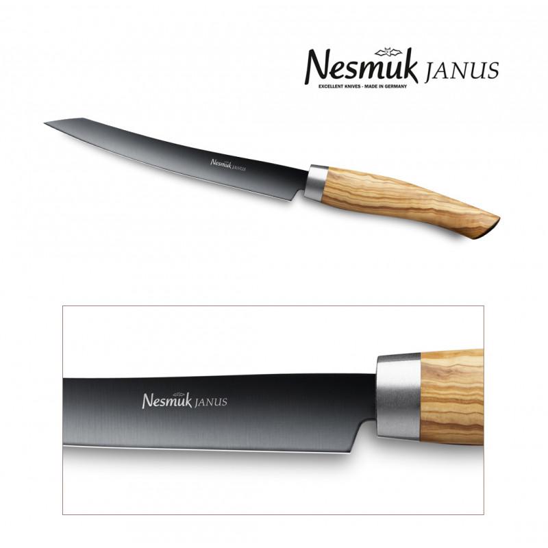 NESMUK Janus Slicer 160 Olivenholz - Klinge Detailansicht