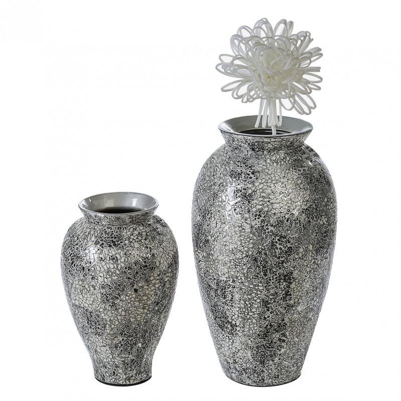 Casablanca Vase Cascada, silber/weiss/schwarz, H. 42 cm