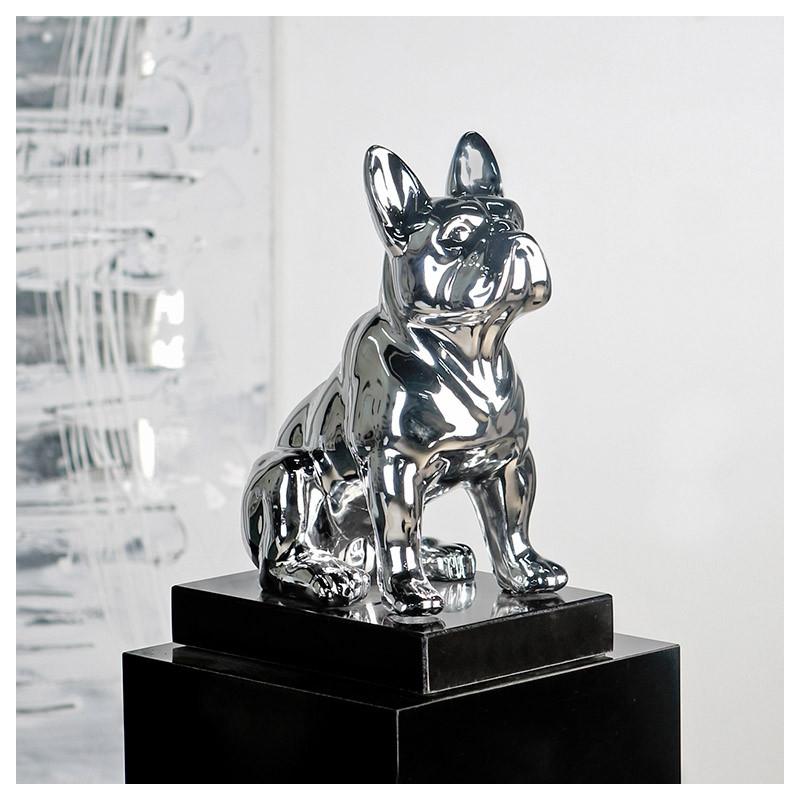 """Casablanca Design Skulptur """"Bulli"""" - Bulldogge in Silber auf Marmorsockel"""