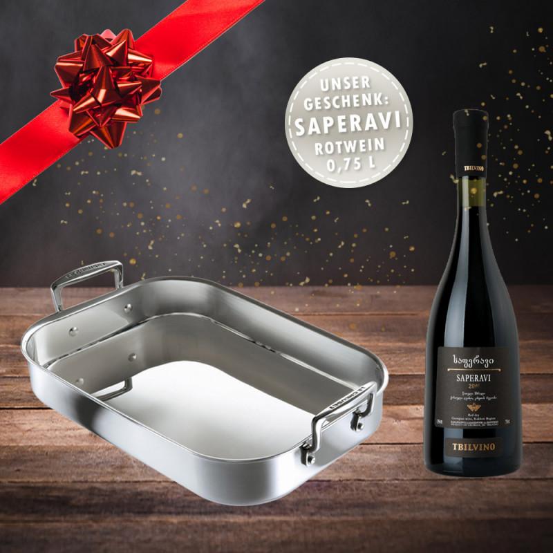 Le Creuset 3-ply Bratreine 35 x 25 cm mit Weihnachtswein