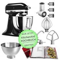 KitchenAid Küchenmaschine 125PS Gemüseschneider Set Onyxblack schwarz mit Kochbuch