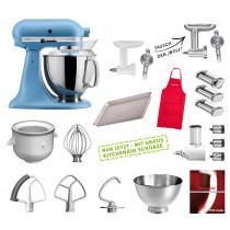 KitchenAid Küchenmaschine samtblau Mega-Zubehör Set mit Nudelwalzen