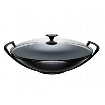Le Creuset Wok mit Glasdeckel schwarz