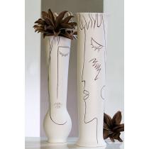 Vase Art Keramik, creme-weiß, H. 70cm Mädchen