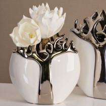 Casablanca Vase Tree aus Keramik weiss/silber 27 cm