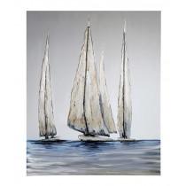 "Casablanca Design Ölbild ""Sailing"" Leinwand 80 x 100 cm weiß/grau/blau"
