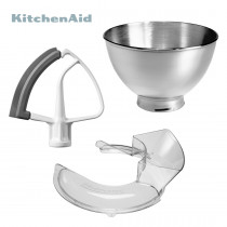 KitchenAid 3tlg. Upgrade Set für 5KSM125PS/5KSM156 3-L-Bowl, Flexi, Spritzschutz