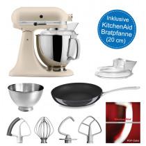 KitchenAid Artisan Küchenmaschine 175PS Fresh Linen mit 20-cm Pfanne