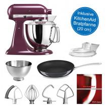 KitchenAid Artisan Küchenmaschine 175PS holunderbeere 4,8 Liter im Set mit Bratpfanne