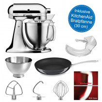 KitchenAid Küchenmaschine 5KSM185PS chrom inkl. 30-cm KitchenAid Bratpfanne