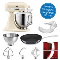 KitchenAid Küchenmaschine 5KSM185PS creme mit Bratpfanne 30-cm Durchmesser