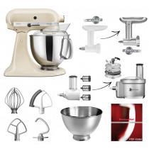 KitchenAid Artisan Küchenmaschine 4,8 Liter Set Gemüse Und Fleisch creme