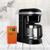 KitchenAid Kaffeemaschine 1,7 DRIP Onyx Schwarz 5KCM1208EOB + Filterkaffee 250g
