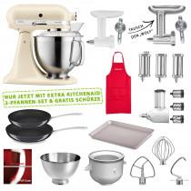 KitchenAid Küchenmaschinen Set mit XXL-Zubehör creme